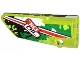 Part No: 64683pb010  Name: Technic, Panel Fairing # 3 Small Smooth Long, Side A with Red Stripe and 'TIO OIL' on Black, White and Green Camouflage Pattern (Sticker) - Set 42027