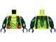 Part No: 973pb1192c01  Name: Torso Ninjago Snake with Dark Green Straps and Red Vials Pattern (Spitta) / Dark Green Arms / Black Hands