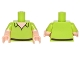 Part No: 973pb2323c01  Name: Torso Open Collar, Light Nougat Neck, Dark Brown Belt Pattern / Light Nougat Arms with Lime Short Sleeves with Scalloped Edge Pattern / Light Nougat Hands