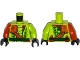 Part No: 973pb2331c01  Name: Torso Ninjago Snake with Shoulder Pad and Dark Green Belt and Red Vials Pattern / Lime Arm Left / Dark Orange Arm Right / Black Hands