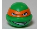 Part No: 12607pb16  Name: Minifigure, Head, Modified Ninja Turtle with Orange Mask and Sneer Pattern (Michelangelo)