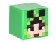 Lot ID: 248194505  Part No: 19729pb017  Name: Minifigure, Head, Modified Cube with Minecraft Pixelated Hood with Creeper Eyes over Face Pattern