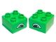 Part No: 3437pb010  Name: Duplo, Brick 2 x 2 with Eye, Alligator Slanted Pattern, on Two Sides