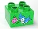 Part No: 3437pb039  Name: Duplo, Brick 2 x 2 with Bluebird and Dark Pink Flower Pattern