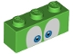 Part No: 3622pb125  Name: Brick 1 x 3 with Eyes Blue and Black on White Background Pattern (Larry)