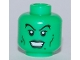 Part No: 3626bpb0456  Name: Minifigure, Head Female Dark Green Lips and Warts, Black Cheek Lines and Eyelashes Pattern - Blocked Open Stud