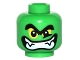 Part No: 3626cpb1533  Name: Minifigure, Head Alien with Black Thick Eyebrows, Yellow Eyes and Wide Grin with Teeth and Fangs Pattern - Hollow Stud