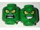Part No: 3626cpb1635  Name: Minifigure, Head Dual Sided Alien with Large Yellow Eyes, Angry / Wide Evil Grin Pattern (Green Goblin) - Hollow Stud