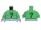 Part No: 973pb2253c01  Name: Torso Batman Black Question Mark on Chest and Back and Lavender Belt Pattern / Bright Green Arms / Lavender Hands