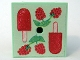 Part No: 33031pb09  Name: Container Box 3.5 x 3.5 x 1.3 with Hinged Lid with Raspberries and Ice Pop (Freezer / Lollipop / Lolly / Pole / Popsicle / Stick) Pattern (Sticker) - Set 3116