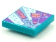 Part No: 3068bpb1546  Name: Tile 2 x 2 with Groove with BeatBit Album Cover - Metallic Light Blue Stars and Cat Head Microphone Pattern