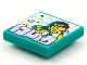 Part No: 3068bpb1558  Name: Tile 2 x 2 with Groove with BeatBit Album Cover - Rapper in Black Beanie with Music Note Necklace Pattern