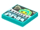 Part No: 3068bpb1769  Name: Tile 2 x 2 with Groove with BeatBit Album Cover - Lime Minifigure Looking Over Keyboard Pattern
