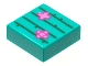 Part No: 3070bpb212  Name: Tile 1 x 1 with Groove with Bright Green Cactus Lines and Magenta and Dark Pink Flowers Pattern