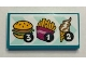 Part No: 87079pb0873  Name: Tile 2 x 4 with Menu with Number 3, 1 and 2 and Hamburger, French Fries and Ice Cream Pattern (Sticker) - Set 41349