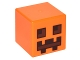 Part No: 19729pb001  Name: Minifigure, Head Modified Cube with Dark Brown and Reddish Brown Squares and Rectangles Pattern (Minecraft Pumpkin Jack O' Lantern / Snow Golem Head)