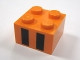 Part No: 3003pb034  Name: Brick 2 x 2 with Two Black Rectangles Pattern