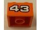 Part No: 3003pb086  Name: Brick 2 x 2 with White '43' with Black Outline on Orange Background Pattern (Sticker) - Set 8162