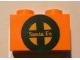 Part No: 3004pb095  Name: Brick 1 x 2 with Yellow 'Santa Fe' and Dark Green Logo Pattern (Sticker) - Set 10133