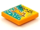 Part No: 3068bpb1573  Name: Tile 2 x 2 with Groove with BeatBit Album Cover - Orange Flying Cat Pattern
