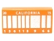 Part No: 3069bpb0287  Name: Tile 1 x 2 with Groove with Silver Stripes, 'CALIFORNIA', '20', '15' and '136113 9 66' Pattern