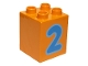 Part No: 31110pb074  Name: Duplo, Brick 2 x 2 x 2 with Number 2 Blue Pattern