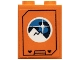 Part No: 3245cpb121  Name: Brick 1 x 2 x 2 with Inside Stud Holder with Arctic Explorer Logo on Orange Background Pattern (Sticker) - Set 60195