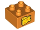 Part No: 3437pb088  Name: Duplo, Brick 2 x 2 with Wedge of Cheese Pattern