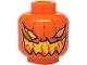Part No: 3626bpb0277  Name: Minifigure, Head Pumpkin Jack O' Lantern Evil Pattern - Blocked Open Stud