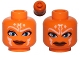 Part No: 3626cpb0841  Name: Minifigure, Head Dual Sided Alien with SW Ahsoka, Blue Eyes, Smile / Angry Pattern - Hollow Stud