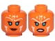 Part No: 3626cpb2650  Name: Minifigure, Head Dual Sided Alien with SW Ahsoka, Blue Eyes and White Lines, Smile / Frown Pattern - Hollow Stud