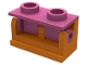 Part No: 3937c06  Name: Hinge Brick 1 x 2 Base with Dark Pink Hinge Brick 1 x 2 Top (3937 / 3938)