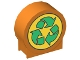 Part No: 41970px4  Name: Duplo, Brick 1 x 3 x 2 Round Top with Recycling Arrows Pattern