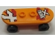 Part No: 42511c01pb11  Name: Minifigure, Utensil Skateboard with Trolley Wheel Holders with 'X TREME' and 'X' Pattern (Stickers) and Black Trolley Wheels (42511pb11 / 2496)