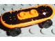 Part No: 42511c01pb28  Name: Minifigure, Utensil Skateboard with Trolley Wheel Holders with Skull Pattern (Sticker) and Black Trolley Wheels (42511pb01 / 2496)