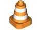 Part No: 47408px1  Name: Duplo Cone 2 x 2 Square Base with White Reflective Safety Stripes Pattern