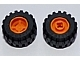 Part No: 6014bc05  Name: Wheel 11mm D. x 12mm, Hole Notched for Wheels Holder Pin with Black Tire Offset Tread Small Wide, Band Around Center of Tread (6014b / 87697)