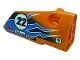 Part No: 64391pb072  Name: Technic, Panel Fairing # 4 Small Smooth Long, Side B with Number '22', Dark Azure Lightning, Logos 'OIL', 'AXLE BEAM', 'MOTO' and 'NORTHERN' Pattern (Sticker) - Set 42104