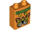 Part No: 76371pb044  Name: Duplo, Brick 1 x 2 x 2 with Bottom Tube with Butterfly Pattern (10804)