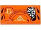 Part No: 87079pb0215L  Name: Tile 2 x 4 with Hatches, White Arrow, Sprocket and Chain Pattern Model Left Side (Sticker) - Set 70224