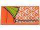 Part No: 87079pb0763  Name: Tile 2 x 4 with Orange and Lime Sleeping Bag Pattern (Sticker) - Set 41424