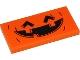 Part No: 87079pb0779  Name: Tile 2 x 4 with Orange and Black Pumpkin Jack O' Lantern Pattern (Sticker) - Set 40423
