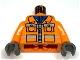 Part No: 973pb0010c01  Name: Torso Town Construction Zipper Jacket, Blue Shirt, Safety Stripes Pattern / Orange Arms / Dark Gray Hands