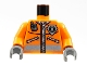 Part No: 973pb0303c01  Name: Torso Rescue Coast Guard Logo Jacket with Pockets and Radio Pattern / Orange Arms / Dark Gray Hands