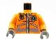 Part No: 973pb0303c02  Name: Torso Rescue Coast Guard Logo Jacket with Pockets and Radio Pattern / Orange Arms / Dark Bluish Gray Hands
