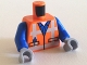 Part No: 973pb1561c02  Name: Torso Safety Vest with Reflective Crossed Stripes over Blue Shirt Pattern / Blue Arms / Light Bluish Gray Hands