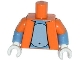 Part No: 973pb1673c01  Name: Torso Simpsons Open Jacket with Light Bluish Gray Stomach Pattern / Medium Blue Arms with Orange Short Sleeves Pattern / White Hands