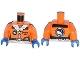 Part No: 973pb1703c01  Name: Torso Arctic Explorer Logo Female with Zipper and White Fur Trim Pattern / Orange Arms / Blue Hands