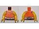 Lot ID: 191309050  Part No: 973pb2164c01  Name: Torso Town Prisoner Number 92116, Orange Tank Top with White Shirt Tied Around Waist Pattern / Yellow Arms / Yellow Hands