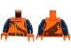 Part No: 973pb2370c01  Name: Torso Top with Belts, Bag on Back Pattern / Dark Blue Arms / Orange Hands